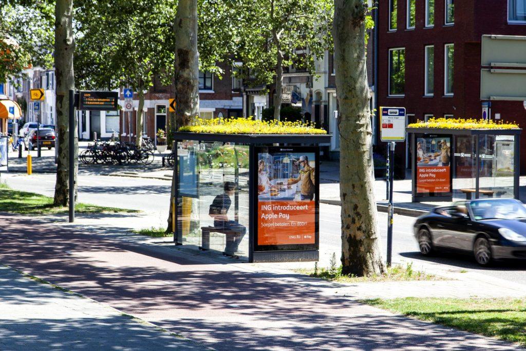 Zastávka autobusov v Utrechte, Holandsko